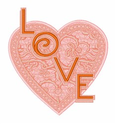Lace Love Heart embroidery design