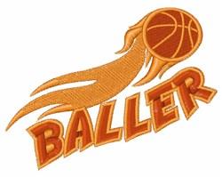 Flaming Baller embroidery design
