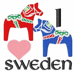 I Love Sweden embroidery design