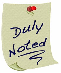 Duly Noted embroidery design