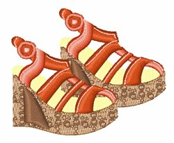 Summer Wedge Shoes embroidery design