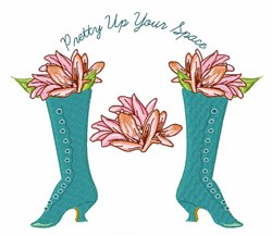Lilies & Victorian Boot embroidery design