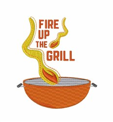 Fire Up Grill embroidery design