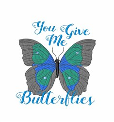 Give Me Butterflies embroidery design