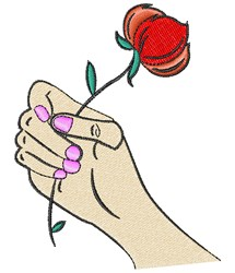 Hand Holding Rose embroidery design