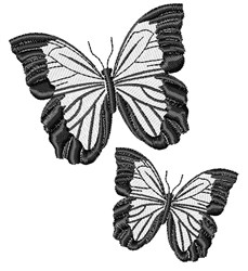 Black & White Butterflies embroidery design