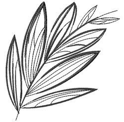 Black Leaf Outline embroidery design