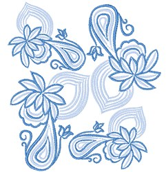 Blue Floral Swirl embroidery design