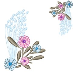 Pastel Floral Border embroidery design