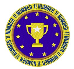 Number 1 Badge embroidery design