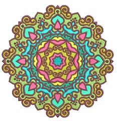 Colorful Mandala embroidery design
