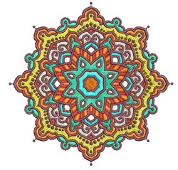 Mandala Starburst embroidery design