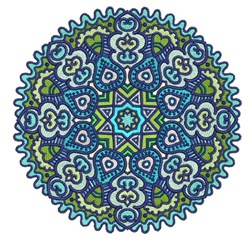 Blue Circle Mandala embroidery design