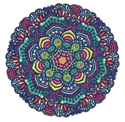 Round Blue Mandala embroidery design