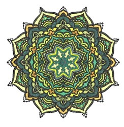 Fancy Green Mandala embroidery design