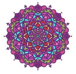 Round Purple Mandala embroidery design