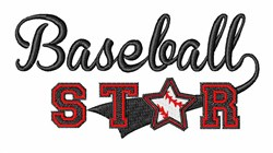 Baseball Star embroidery design