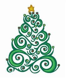 Xmas Swirl Tree embroidery design