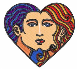 Faces In Heart embroidery design