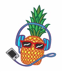 Music Pineapple embroidery design