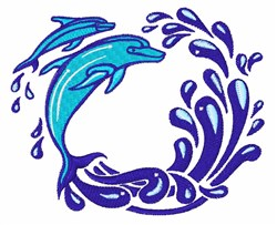 Dolphins embroidery design