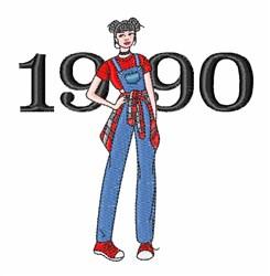 1990 Woman embroidery design