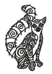 Tribal Lemur embroidery design