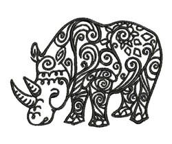 Tribal Rhino embroidery design