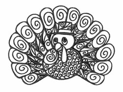 Blackwork Thanksgiving Turkey embroidery design