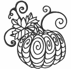 Blackwork Fall Pumpkin embroidery design