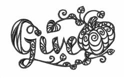 Blackwork Thanksgiving Pumpkin embroidery design