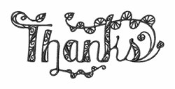 Blackwork Thanksgiving Thanks embroidery design