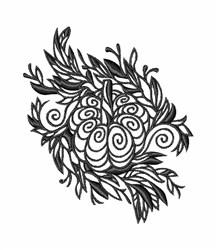 Blackwork Pumpkin & Leaves embroidery design