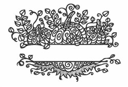 Blackwork Pumpkin Name Drop embroidery design