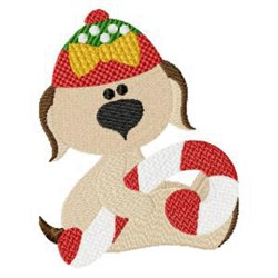 Puppy & Candy Cane embroidery design