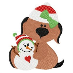 Puppy & Snowman embroidery design
