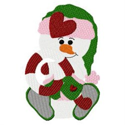 Snowman & Candy Cane embroidery design