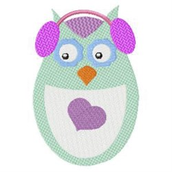 Winter Owl & Earmuffs embroidery design