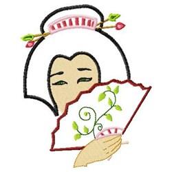 Applique Geisha & Fan embroidery design