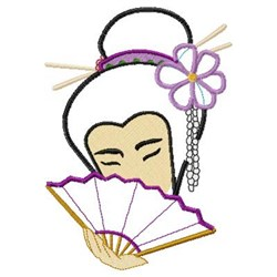 Applique Floral Geisha embroidery design