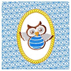Blue Lacy Owl embroidery design