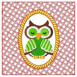 Red Lacy Owl embroidery design
