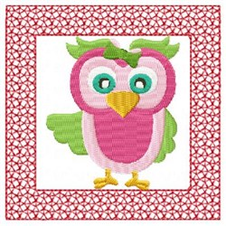 Lacy Pink Owl embroidery design