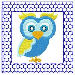 Lacy Blue Owl embroidery design