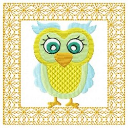 Lacy Yellow Owl embroidery design