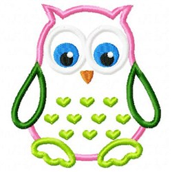 Applique Owl Hearts embroidery design