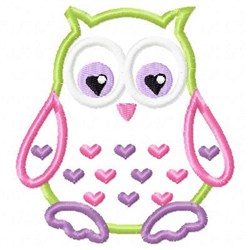 Applique Owl Hearts embroidery design