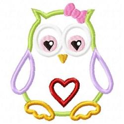 Applique Owl Heart embroidery design