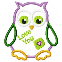 Applique Owl Love embroidery design