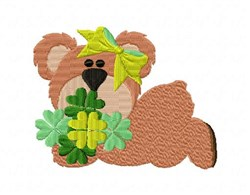 Bonnie Bear Clovers embroidery design